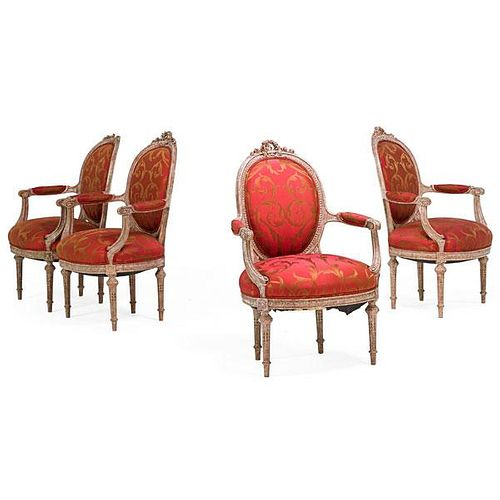 SET OF FOUR TRANSITIONAL LOUIS XVI STYLE CHAIRS