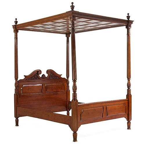 GEORGE III STYLE MAHOGANY TESTER BED