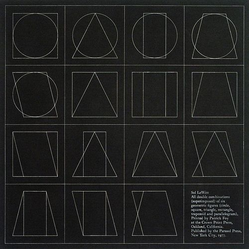 SOL LEWITT - All Double combinations (Superimposed) of Six Geometric Figures