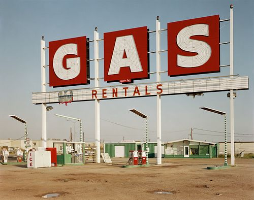 "JIM DOW, former faculty - ""Gas Rentals"" Sign. US 77, Dallas, TX 1979"