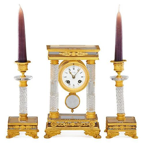 FRENCH PORTICO CLOCK SET