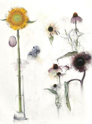 LINDA ETCOFF, MFA 75, 5th Yr 76 - Sunflowers, Cone Flowers and Hyacinth