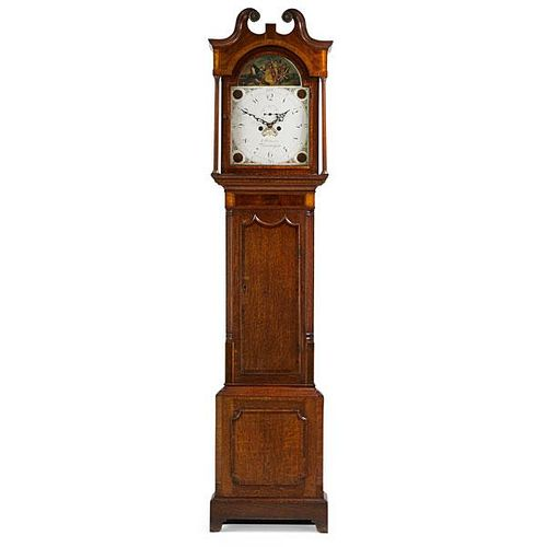 ENGLISH OAK AND MAHOGANY TALL CASE CLOCK