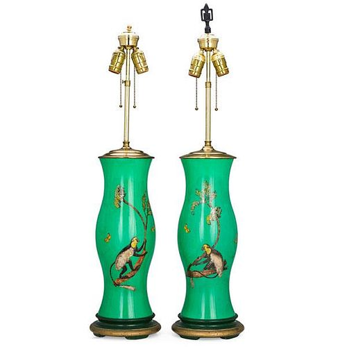 PAIR OF REVERSE PAINTED AND DECOUPAGE GLASS LAMPS