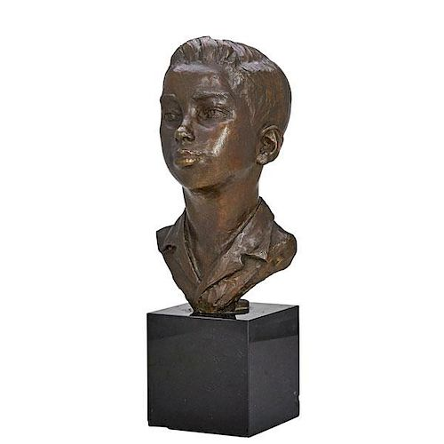AMERICAN BRONZE BUST OF BOY