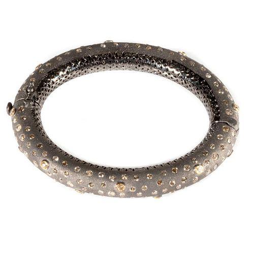 Diamond, blackened silver & 14k gold bangle bracelet