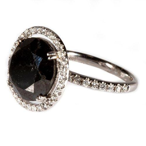 Black diamond, diamond and 18k white gold ring