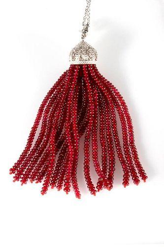 Ruby, diamond, 18k white gold tassel pendant