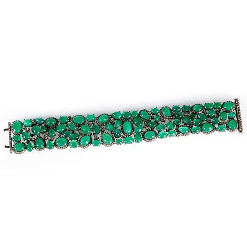 Emerald, diamond and blackened silver bracelet