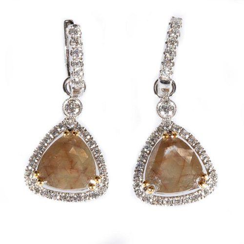 Colored diamond, diamond & 18k white gold earrings