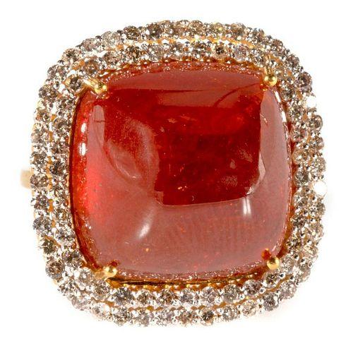 Spessartite garnet, diamond and 18k gold ring