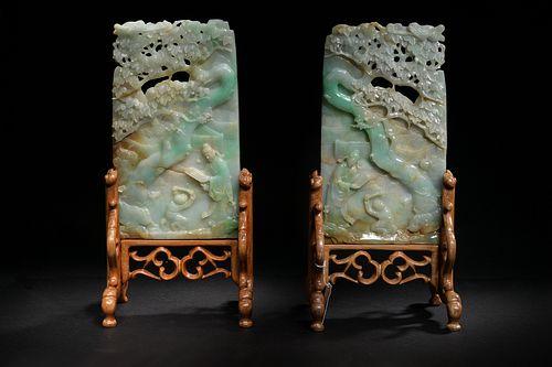 Pair of Jadeite Carved Table Screens, Republic