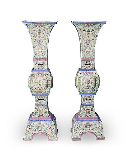 Pair of Chinese Famille Rose Gus, Early-19th Century