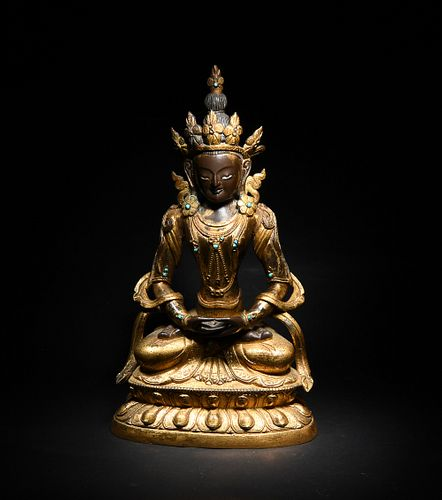 Gilt Bronze Seated Buddha, 18th Century