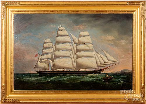 """Large oil on canvas ship portrait, 19th c., 34"""" x"""