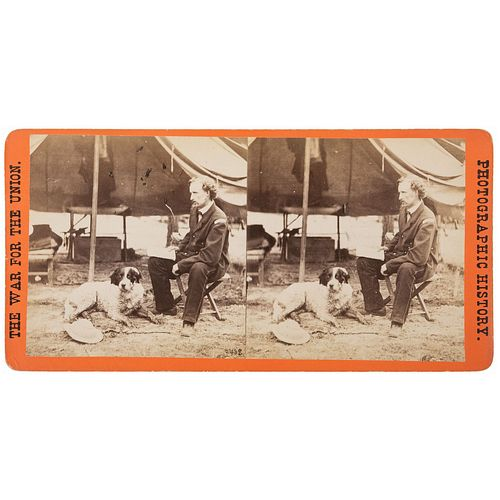 General George Custer and his Dog, Civil War Stereoview