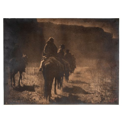 Edward S. Curtis Platinum Photograph, The Vanishing Race, With Red Signature