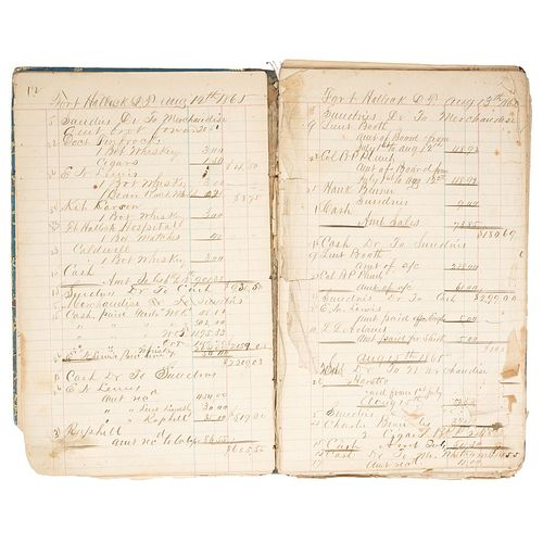 Fort Halleck, Wyoming, Pair of 1865 Ledgers from the Military Outpost, Incl. Reference to Kit Carson