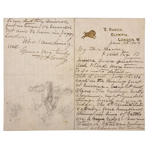 """William F. """"Buffalo Bill"""" Cody ALS with Sketch to Artist Irving R. Bacon Describing the Battle of Warbonnet Creek and Killing of Cheyenne Chief Yellow"""