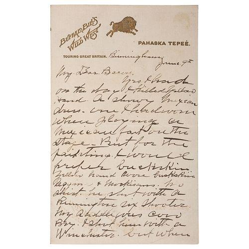"William F. ""Buffalo Bill"" Cody ALS to Artist Irving R. Bacon Describing the Killing of Cheyenne Chief Yellow Hand, June 1903"