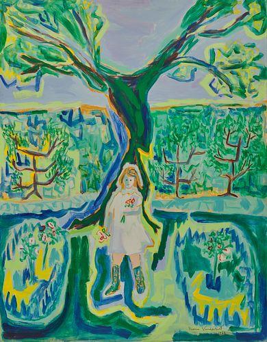 GLORIA VANDERBILT, (American, 1924-2019), Girl in a Garden, 1965