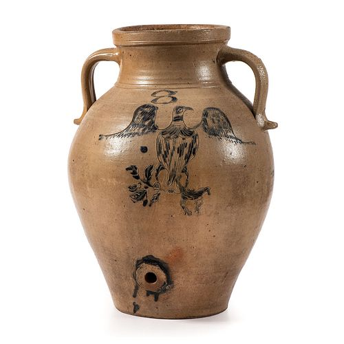 An Important Ohio Stoneware Water Cooler with Patriotic Eagle