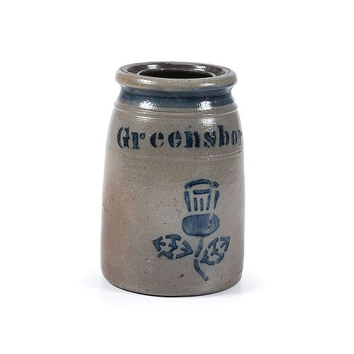 A Fine Pennsylvania One Quart Stoneware Canning Jar with Stenciled Cobalt Thistle