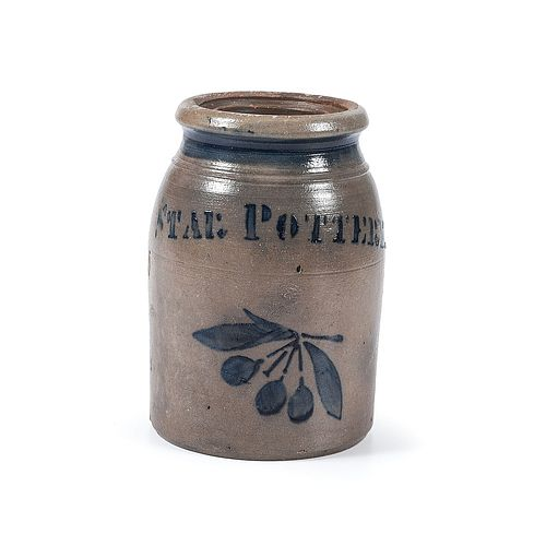 A Rare Star Pottery One Quart Stoneware Canning Jar with Cobalt Cherries