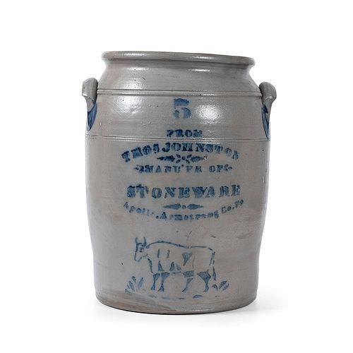 An Exceedingly Rare Apollo, Pennsylvania Five Gallon Stoneware Crock