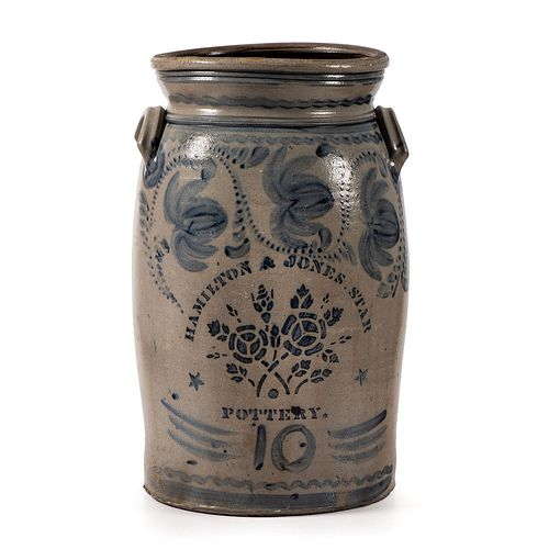 A Spectacular Hamilton and Jones Star Pottery 10 Gallon Stoneware Crock