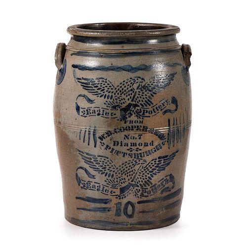 A Cobalt Double Eagle-Decorated Ten Gallon Stoneware Crock