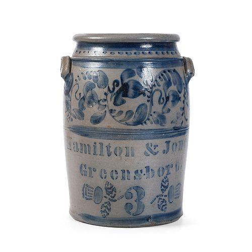An Exceptional Pennsylvania Cobalt-Decorated Three Gallon Crock