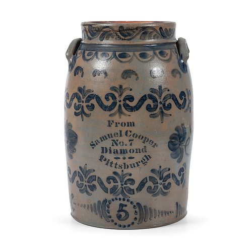 An Exceptional Five Gallon Stoneware Churn with Cobalt Decoration
