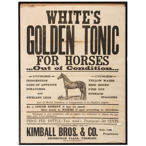 A Syracuse Plows Heavy Card Stock Sign and A White's Golden Tonic Advertising Poster