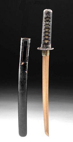 Japanese Edo Lacquered Wood Tanto Handle & Sheath