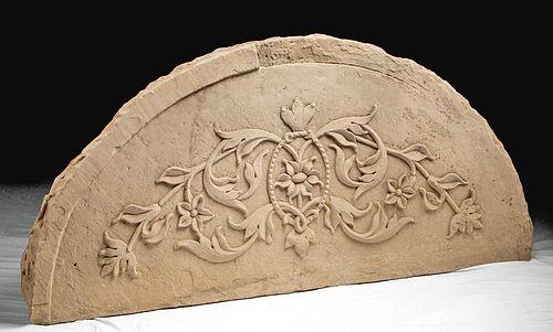 17th C. Indian Mughal Sandstone Lintel - Florals