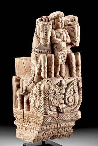 19th C. Indian Wood Corbel with Deity and Horses