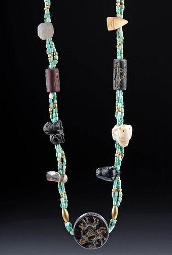 Sumerian Necklace w/ Stamps, Cylinder Seals, Votives