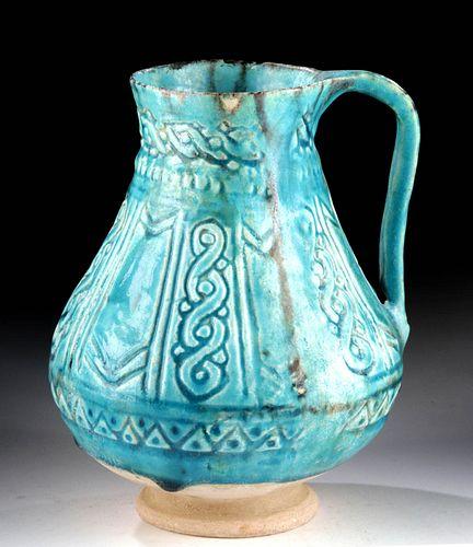 Exceptional Nishapur Turquoise Glazed Pitcher w/ TL