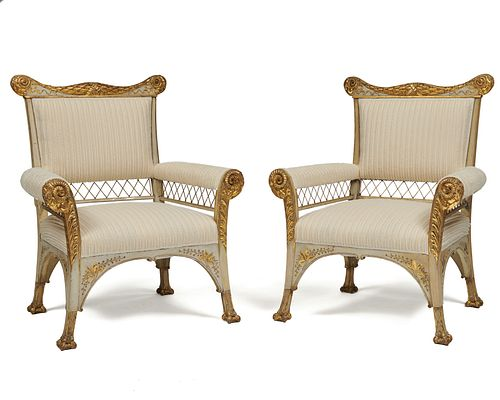 Pair of Aesthetic Movement Gray Painted Parcel Gilt Open-arm Chairs, mid 19th century