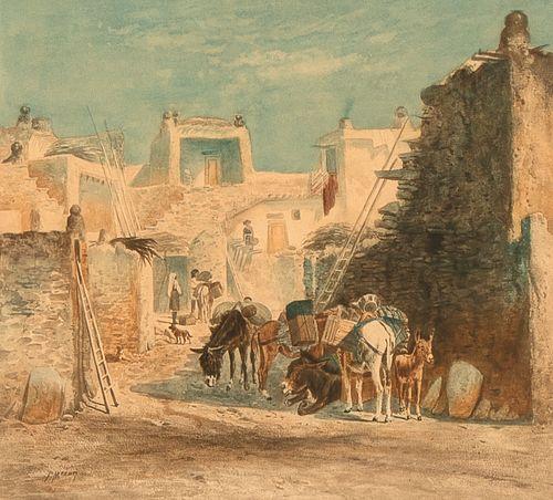 Peter Moran, Pueblo, ca. 1890
