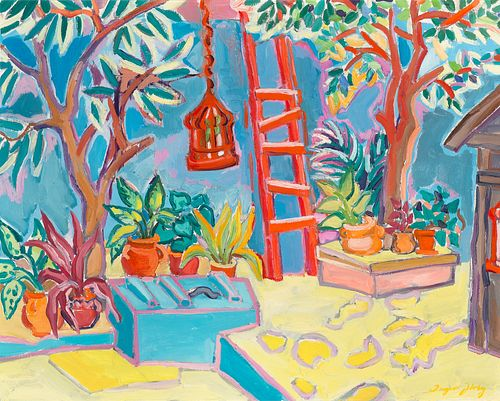 Inger Jirby, Courtyard with Red Ladder, 1989