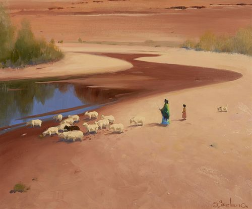Gerard Curtis Delano, Sheep in the Riverbed