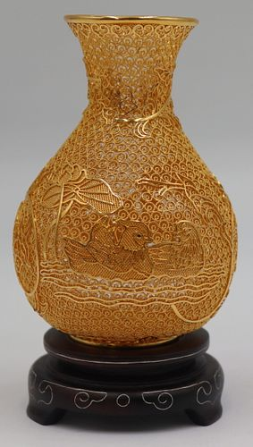 Lao Feng Xiang 24kt Gold Filigree Vase.