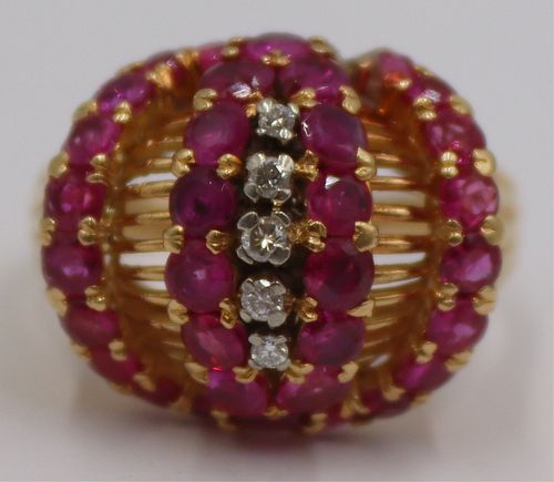 JEWELRY. Italian 18kt Gold, Diamond and Ruby Ring.