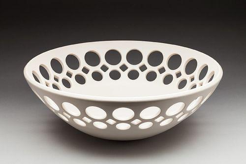 White Demi Pierced Round Bowl