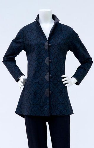 Shaped Blue Paisley Knit Jacket