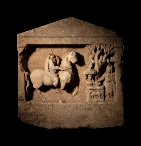 A Greek Marble Relief with a Rider and an Altar Group Height 15 x width 14 1/2 inches.