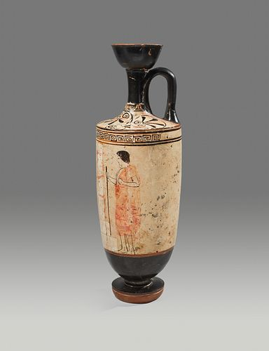 An Attic White-Ground Lekythos Height 10 inches.