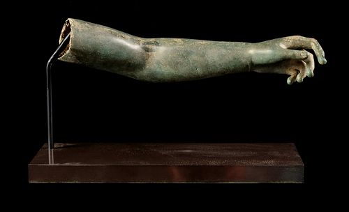 A Late Hellenistic or Roman Bronze Arm  Length 12 1/2 inches.